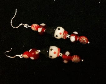 Snowman Earrings, Holiday Jewelry, Beaded Snowman, Christmas Snowman Earrings, Snowman Jewelry
