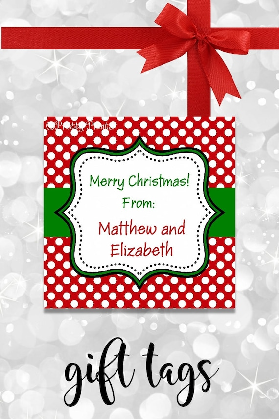 Christmas Gift Tags - Printable - Personalized Christmas Tags - Polka Dots