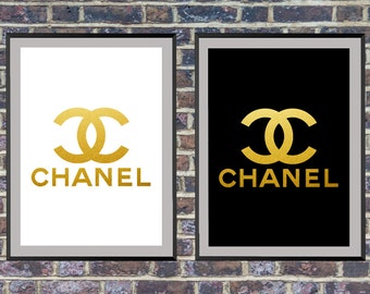 2 for the price of 1, Gold chanel logo, Black white and gold print, Coco Chanel print, Printable chanel art, Fashion decor *9*