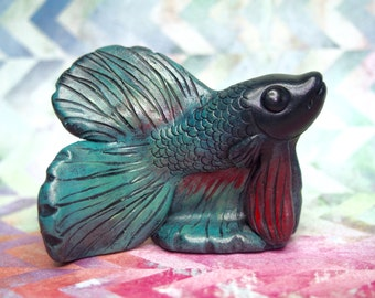 OOAK polymer clay figurine -  blue green and red Betta fish