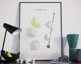 Gin And Tonic Design Print. Poster.