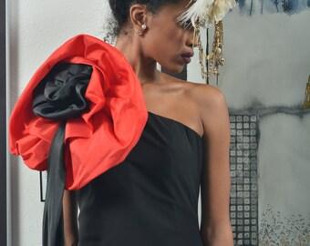 Black Satin Dress with large Poppy Shoulder Trim