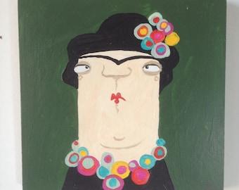 Frieda, original image on wood, artist portrait
