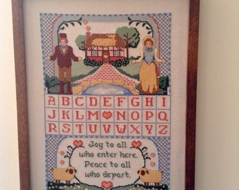 SALE Vintage Cross Stitch Blessing for Household Entrance Made in 1985 Gift for New Home Owners!
