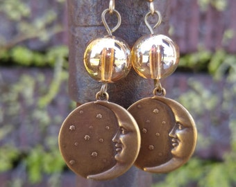 Brass Crescent Moon and Stars Dangle Earrings