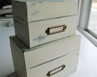 Painted Metal File Card Box Art Display