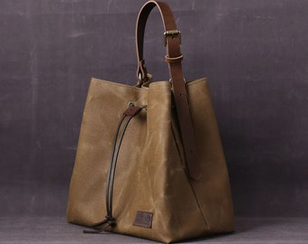 Waxed canvas bag INGRID brown