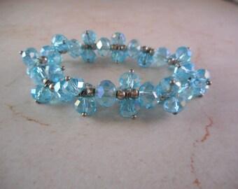 Swarovski Crystal Elastic Bracelet with Light Blue Luminescent Beads
