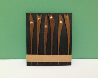 Vintage Teak Wood Hors D'oeuvre Picks Danish Modern Set of Six Google Eye Party Forks in Box