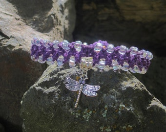 Dragonfly Charm Beaded Purple Hemp Bracelet