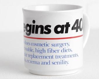 Vintage Life Begins at 40 Mug, Gag Gift Novelty Mug 40th Birthday over the Hill