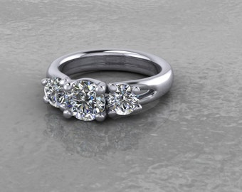 Inspiration Point Exclusive Incredible 14kt White Gold Trellis 3 Stone Moissanite Ring
