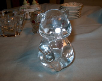 Vintage Fenton Glass Bear Pink Heart, Marked, WAS 10.00 - 20% = 8.00