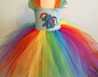 My little pony party dress  with matching puffy bow all  for  one price