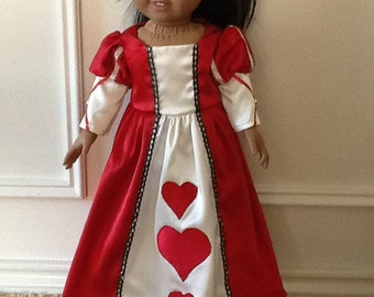 Queen of Hearts dress for 18 inch doll