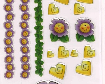 Happy Flower Cartoon Clear 3-D Epoxy Sticker Set