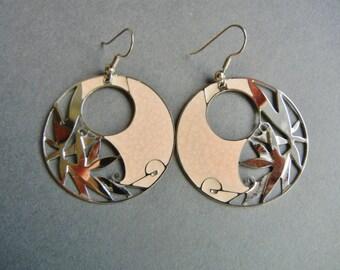 Vintage Berebi Salmon earrings, Berebi runway earrings, 80's runway earrings, 1980's runway earrings, Berebi cutout earrings, Berebi earring
