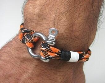 Paracord Bracelet- Survival Bracelet / Nautical Sailing Bracelet Stainless steel Shackle-Mens Bracelet Orange - Black - White Rope Bracelet