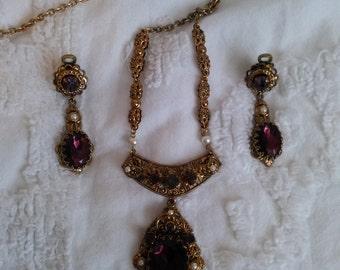 necklace earrings dangle earrings amethyst west germany demi perure costume jewelry purple stones