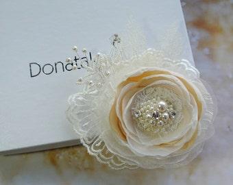 Bridal hair accessory Bridal hair flower Wedding hair flower Bridal hair clip Bridal hair piece Champagne Blush Wedding hair piece -LUDOVICA