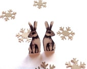 Rabbit Stud Earrings ~ Cute Woodland Accessories Winter Wedding Alice Inspired Jewellery.