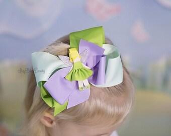Girls fairy hair bow headband pixie green purple lavender hair clip accessory