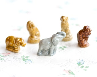 Wade Whimsies Elephant Gorilla Lion Tiger and Hippo - Instant Collection of 5 - Miniature Porcelain Animals