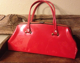Make A Fashion Statement!  Vintage 1950s Double-Handled Flaming Red Vinyl Patent Purse, Handbag – A Must Have!