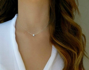 Wish necklace/ Sterling silver/  Lucky necklace/ simple necklace/ Bridesmaid gift idea.