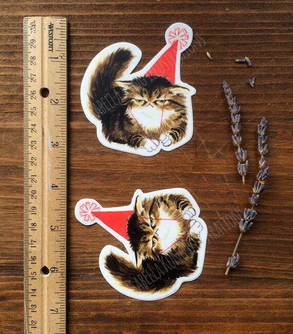 Party Pooper Cat Vinyl Sticker Set Of 2 From
