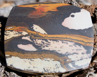 World class INDIAN PAINT Stone Jasper collector cabochon. Sunset over the desert scene. Stunning colours.