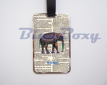 Elephant on Dictionary Luggage Tag, Personalized Luggage Tag
