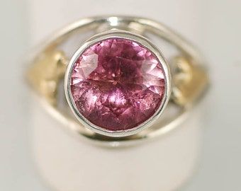 Pink Maine Tourmaline Off Set Heart Ring