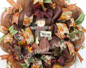 Fall Deco Mesh Wreath, Scarecrow Wreath, Deco Mesh Wreath, Halloween Wreath, Thanksgiving Wreath, Front Door Wreath