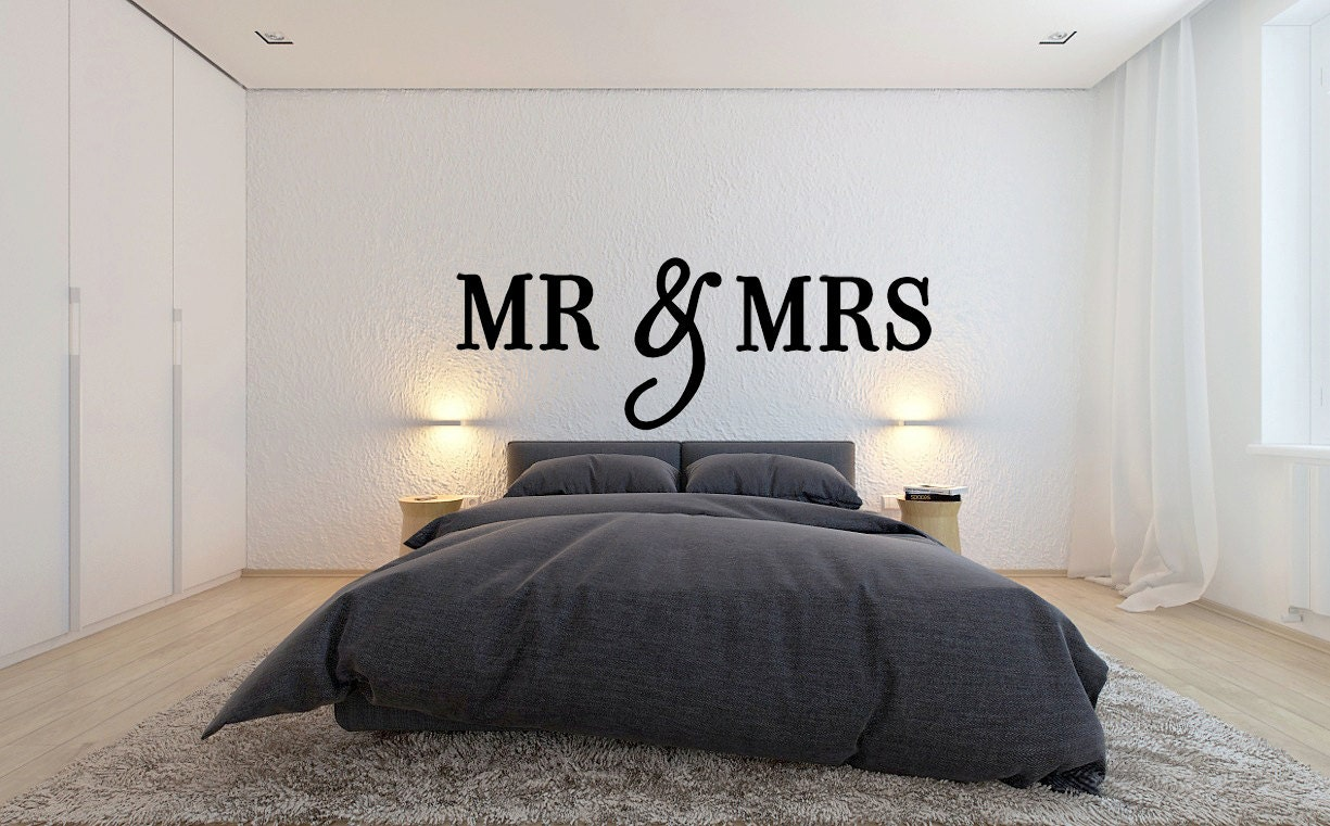 Over The Bed Decor mr & mrs wall sign above bed decor mr and mrs sign for over