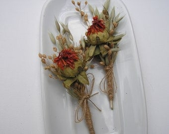 Two Dried Flower Boutonnieres, Safflowers Wedding Boutonnieres, Rustic Boutonnieres, Burlap Boutonhole, Field Flowers