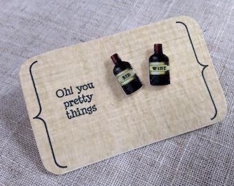 Wine earrings - Stud earrings - Wine lover - Wine gift - Gift for her - Mother's Day - Wine bottle
