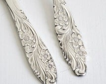 Vintage Cake Serving Set Cake Knife & Fork Wedding Cake Server Swedish Silver Plated Ornate Romantic Silver Flatware Floral Handled Deco