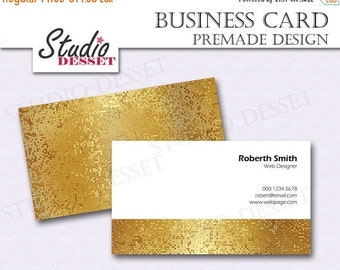 30% OFF SALE Glitter Business Card, Gold Printable Premade Design, Disco Ball Business Cards, Retro Design BC03