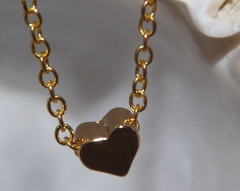 Tiny Gold Heart Pendant Necklace Valentine's Gift