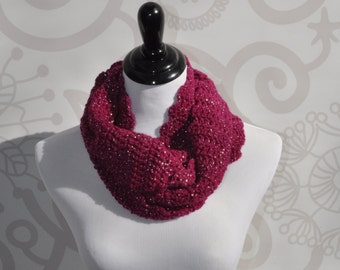 Infinity Scarf - Fuchsia and Silver - Crochet