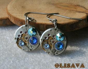 Steampunk Earrings  Vintage Mechanical Watch Movement and  Swarovski crystals , Clockwork Earrings , Steampunk jewelry