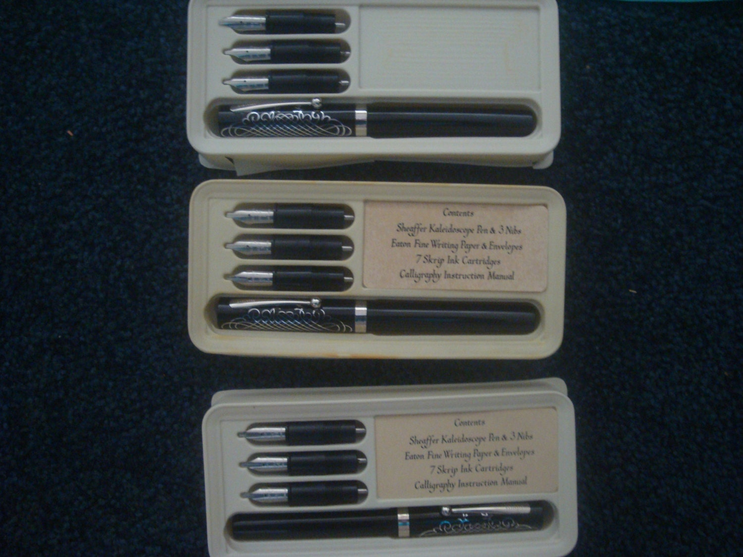 Lot Of 3 Sheaffer Kaleidoscope Calligraphy Writing Pen Set