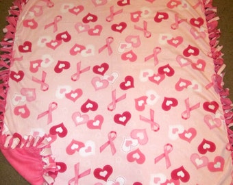 Pink Ribbon & Pink Hearts Breast Cancer Awareness Fleece Tie Blanket