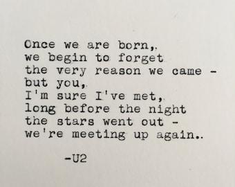 U2 Love Quote (Iris) Typed on Typewriter - 4x6 White Cardstock