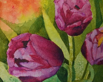 Art and Collectables floral watercolor fine art painting purple tulips small watercolor painting original painting tulip flowers floral art
