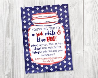 4th of July BBQ Party Invitation / Red, White and Blue BBQ - PRINTABLE Invitation / 4th of July Party Printable Invitation / Mason Jar