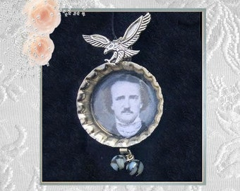 Edgar Allan Poe  Bottle Cap Raven and Beads
