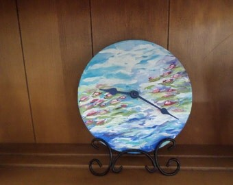 Upcycled desk wall clock, Monet inspired clock, hand painted clock, romantic clock, abstract painted clock, Monet water lily painting clock