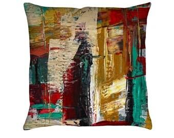 San Francisco Street Printed Throw Pillow. Apartment and Dorm Decor, Sofa Cushion, Modern Art, Abstract Art, Knife Painting, Paint Strokes
